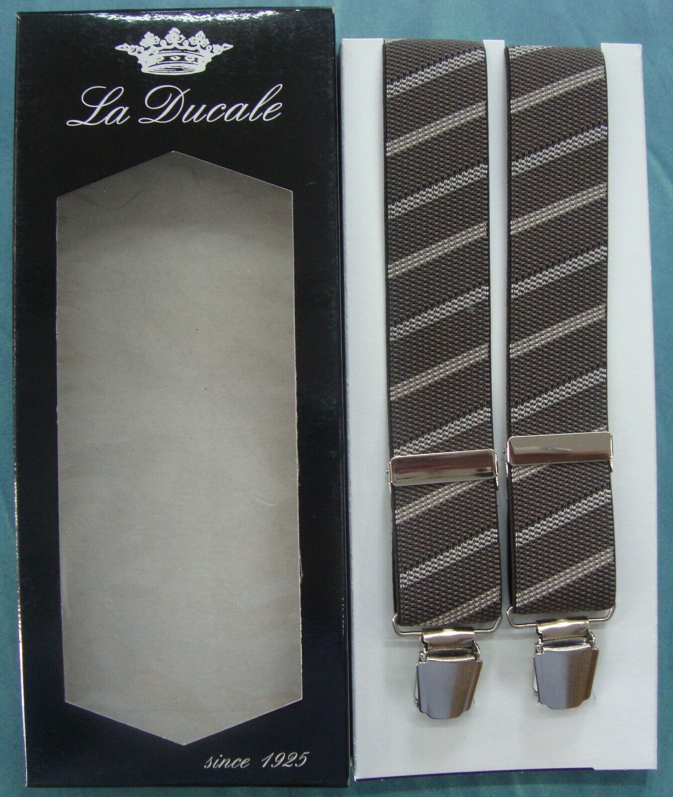 Braces Suspender Man Ducale cm.120 Made in Italy Brown