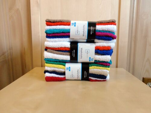Wholesale 54 PC=3PACK Mainstays 100/%Cotton Washcloth White or Assorted Colors