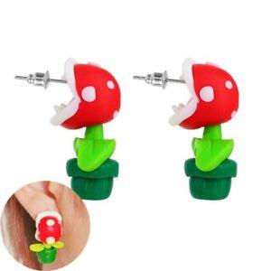 Mode-handgemachte-Weihnachten-Piranha-Blume-Ohrstecker-Polymer-Clay-Ohrringe