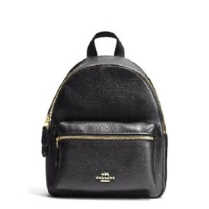 29fb63bbffc NEW COACH (F38263) BLACK MINI CHARLIE PEBBLED LEATHER BACKPACK BAG ...