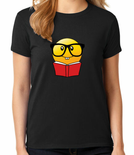 Emoji Reading Ladies T-shirt Emoticon Book With Glasses Women/'s Tee 1130C