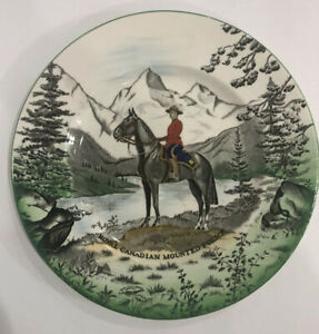 Vtg-Clarice-Cliff-Confederation-RCMP-Royal-Canadian-Mounted-Police-Plate-Mountie
