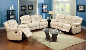 Plush Cushion Bonded Leather 3pc Sofa Loveseat w/Console Recliner Ivory In Color