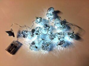 X16-Mini-Lanterna-Di-Natale-Lucine-Bianco-LED-Batteria-2-45-M-filo-CHIARA