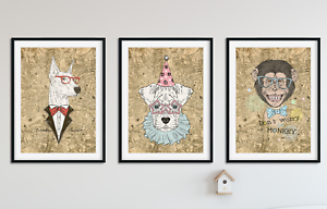 Hipster-Animal-Prints-on-Antique-Digital-London-Map-Wall-Art-Pictures