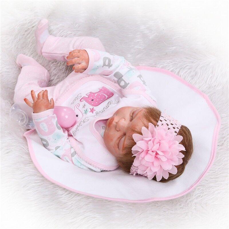 22  fatto a mano a pelo RINATO Baby Girl Doll PIENO in silicone tocco delicato Giocattolo Regalo