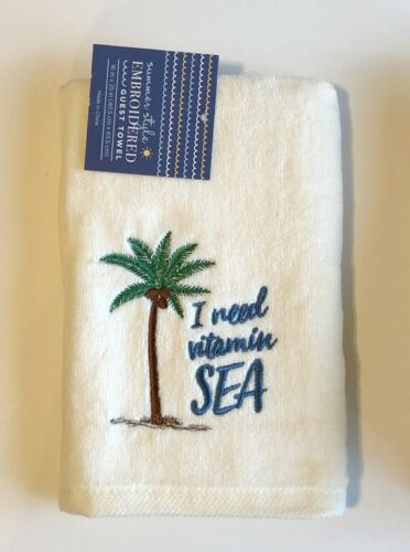 Summer Beach House Guest Hand Towels Set of 2 Embroidered You Choose Pattern