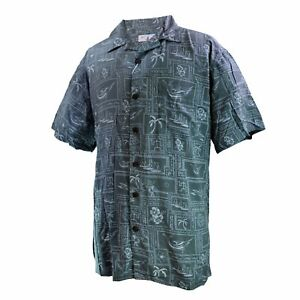 Men-Aloha-Shirt-Cruise-Luau-Hawaiian-Party-Vintage-Green-Abstract