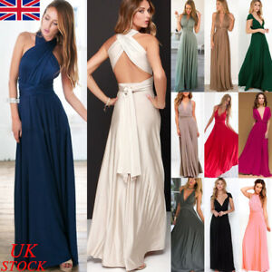 75d7bcbade6ae Details about UK Womens Formal Party Maxi Long Dress Evening Prom Gown  Bridesmaid Wedding