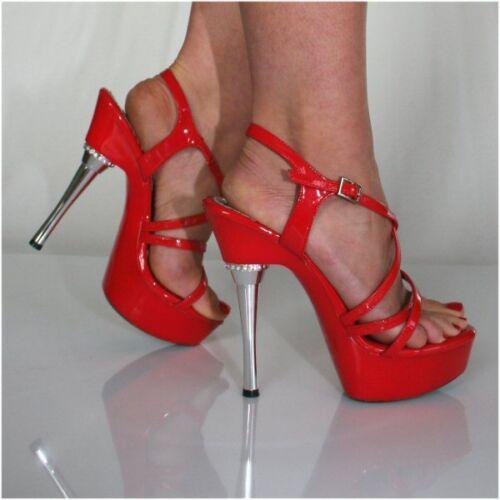 Michelle Red Patent Sandals 1.5 inch Platform 5.5 inch Stiletto UK 3 EU 36