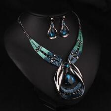 Fashion Women Elegant Necklace Crystal Choker Chunky Statement Bib Jewelry Set