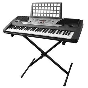 61 key music electric keyboard digital piano beginner organ w stand talent gift 371257433898 ebay. Black Bedroom Furniture Sets. Home Design Ideas