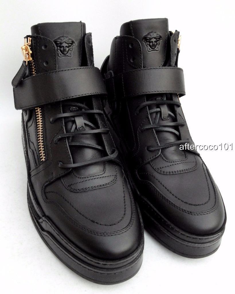 Versace Versace Versace Negro Leather High Top Trainers Sneakers botas 44 & 45 895GBP 6b1770