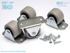 20 Rigide Caoutchouc Fixe Caster Wheels Roulettes 30 Mm Meubles Lits Tiroirs Boîtes-afficher Le Titre D'origine Jermgxxf-07181433-761034699