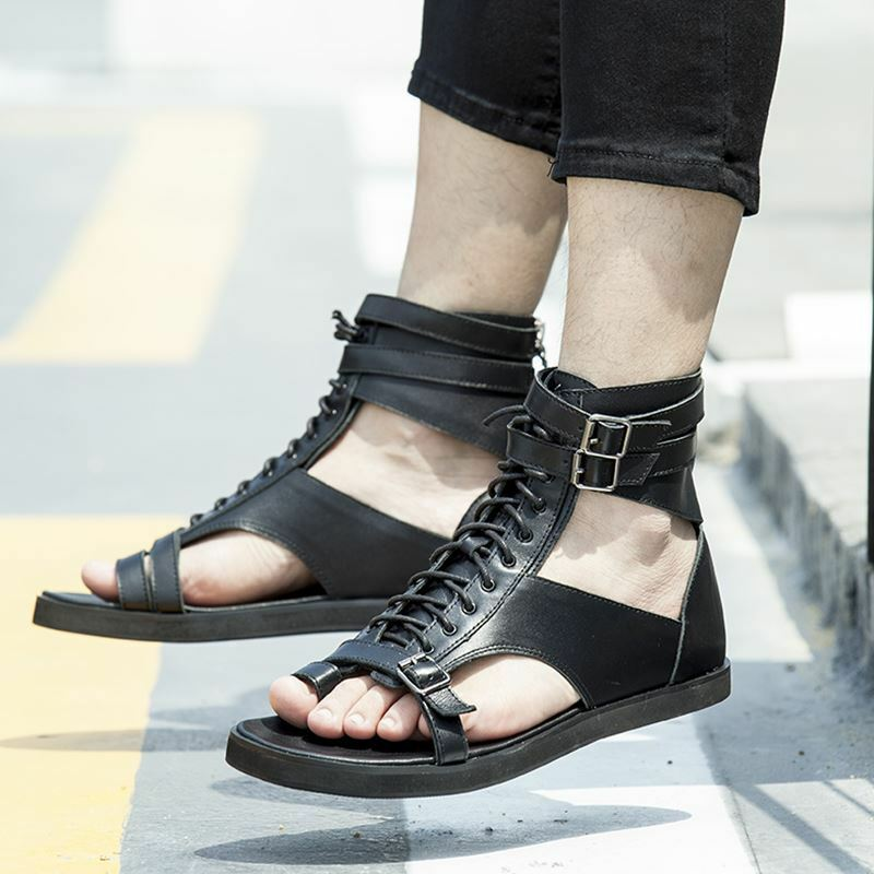 Uomo gladiator Sandals High Top sandals Leather Lace Up Roman sandals Top Flip Flops Shoes 40f617