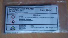 ANTIMONY METAL POWDER  RARE    99.9% pure  100 Grams