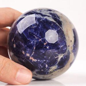 431g 68mm Large Natural Blue Sodalite Quartz Crystal Sphere Healing Ball Chakra