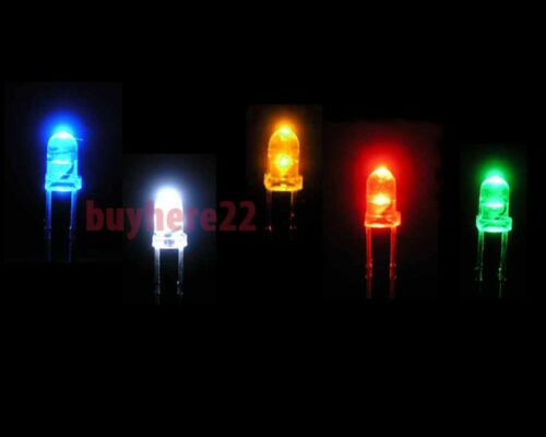 3mm 5mm LED LEDs RED GREEN BLUE WHITE YELLOW ORANGE RGB UV 1 to 100 PACKS SIZE!