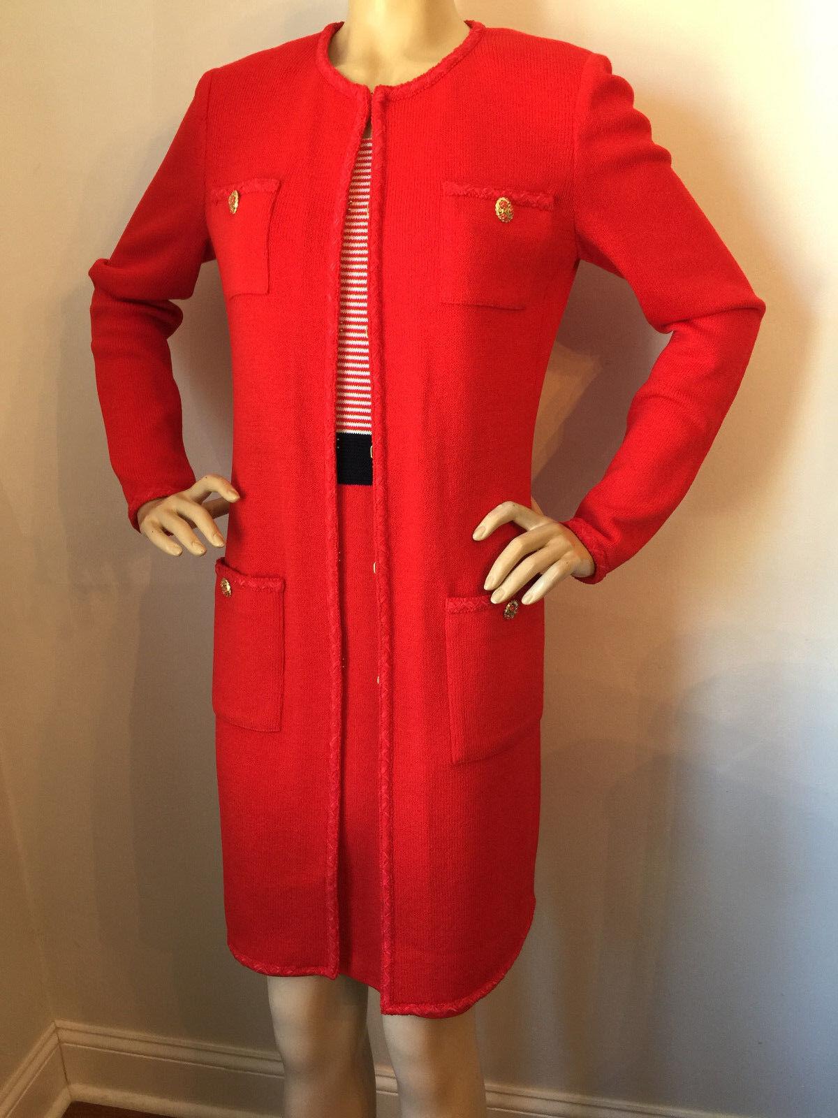 NWT St John Knit dress & topper red sea coral & navy size 6 8 santana