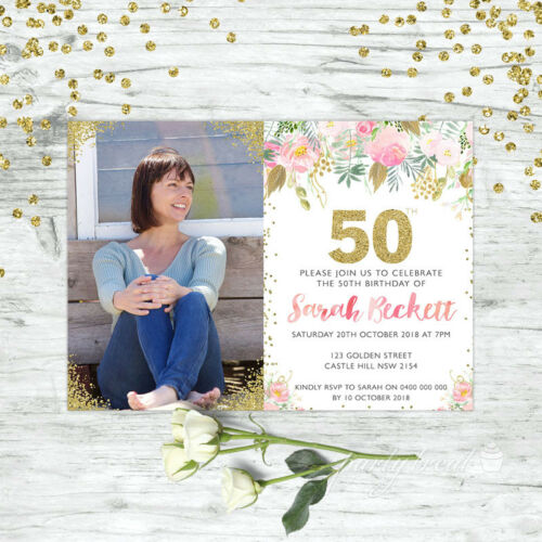50TH BIRTHDAY INVITATIONS PARTY SUPPLIES GOLD PERSONALISED INVITE FLORAL PINK