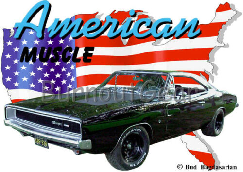 1968 Black Dodge Charger Custom Hot Rod USA T-Shirt 68 Muscle Car Tee