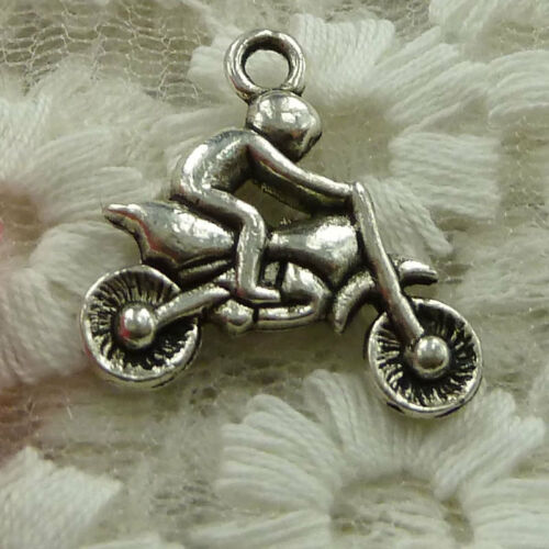 free ship 28 pieces Antique silver man motorcycle charms 22x21mm #2598