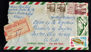 Mexico 1964 Multi-Franked Registered Airmail Cover Gomez Palacio to Dayton, Oh