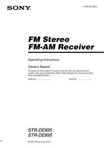 sony str de995 str de895 av receiver owners manual ebay rh ebay com Sony STR K660p Sony STR DN1030 Manual