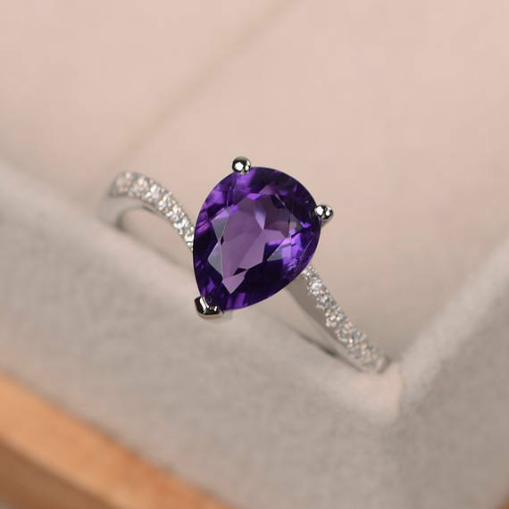 14K White gold 1.70 Ct Amethyst Cut Natural Topaz Diamond Engagement Ring Size 7
