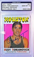 Rudy Tomjanovich Rudy T Signed 1971 Toops Rookie Card GEM MT 10 PSA/DNA 83831856