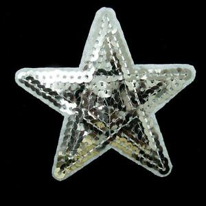 Silver Star Sequin Iron Sew On Patch Applique Badge