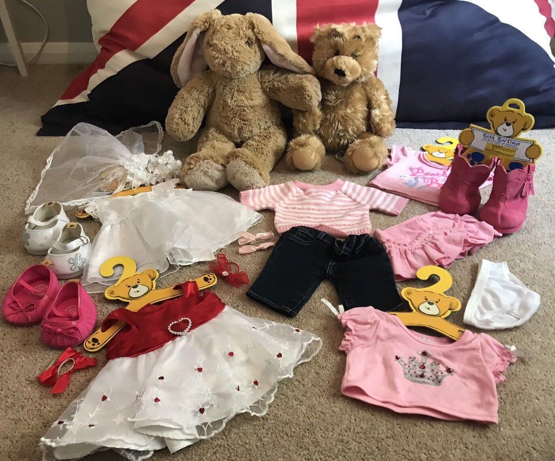 Large Build A Bear Job Lot Bundle -Rabbit & Bear + Clothes, schuhe Bride Wedding