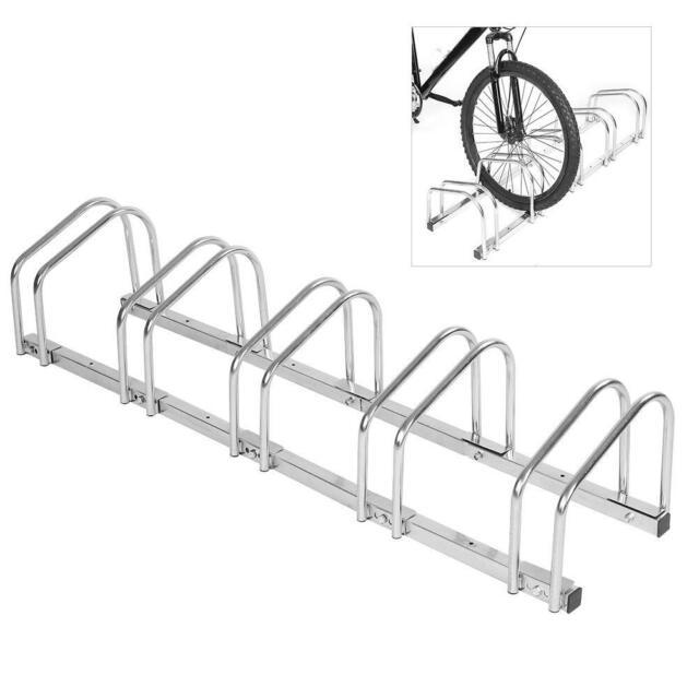 Bike Storage Floor Rack Parking Stand Holder Wheel Cycling Steel Home Garage