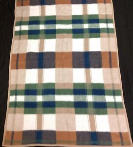 Biederlack-Fleece-Throw-Blanket-Blue-Brown-Green-Plaid-53-034-x-76-034