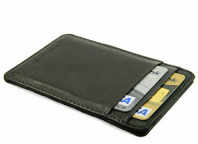 Genuine Leather Slim Thin Black Credit Card Holder Mini Wallet ID Case Wallet
