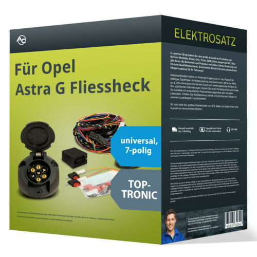 Opel Astra G Fliessheck Elektrosatz 7-pol universell NEU inkl EBA