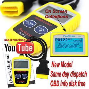 Fits Toyota Yaris 1999 on OBDII Fault Code Reader Reset tool OBD UK
