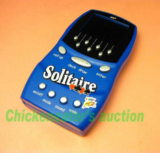 MGA COLOR FX2 SCREEN CARD HANDHELD GAME SOLITAIRE blueE