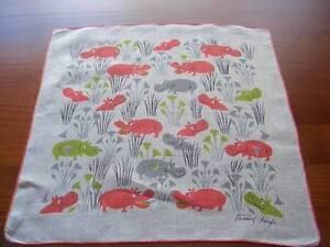 Vintage-Tammis-Keefe-Happy-Hippos-Hanky-Handkerchief-Hankies
