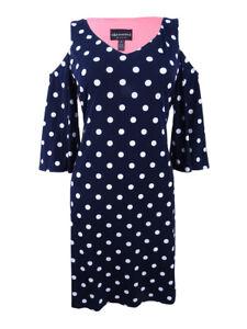 Connected-Women-039-s-Cold-Shoulder-Polka-Dot-Shift-Dress