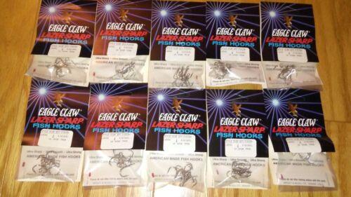 35-pack  lot 175 EAGLE CLAW LAZER SHARP TREBLE HOOKS SIZE 4 NICKEL
