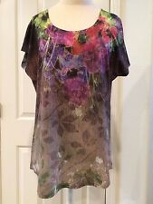 COLDWATER CREEK - ARTSY TEE SHIRT TOP -  large