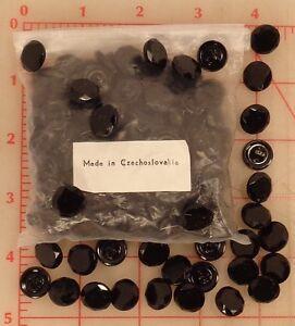 """Wholesale Vintage Czech buttons 144 pieces jet black faceted 0.5"""" #367 closeout"""