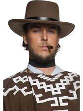 Men/'s Brown Dallas Cowboy Hat /& Feather Fancy Dress Texas Oil Tycoon Stag Fun