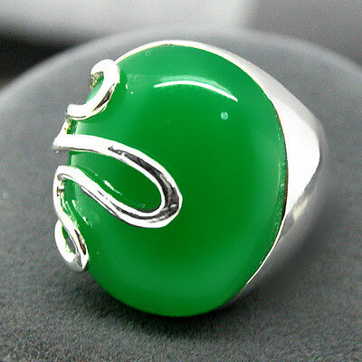 RARE GREEN JADE STERLING SILVER 925 BALI HANDCRAFTED RING SIZE7/8/9/10