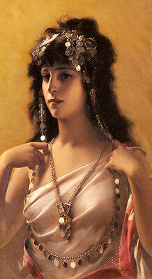 Stunning Oil painting nice young beauty girl Arab Princess with necklace canvas