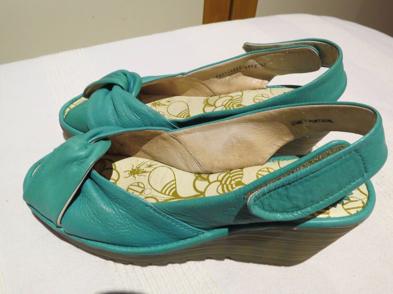 FLY LONDON 'YAKIN' PEACOCK LEATHER WEDGE SLINGBACK SANDALS UK 4 EUR 37