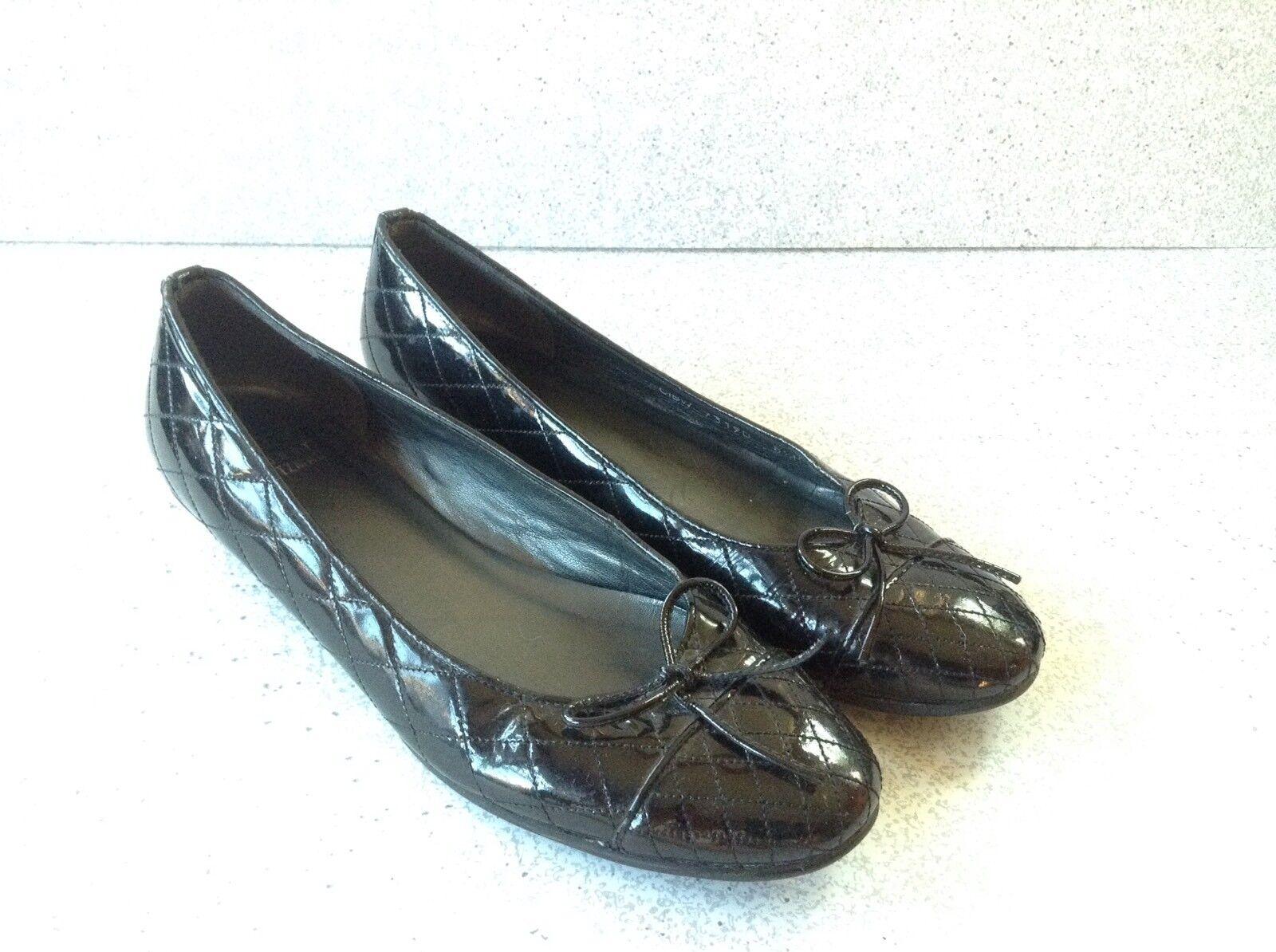 Stuart Weitzman Ballet Flats Quilted Black Patent Leather Cap Toe Size 8.5B