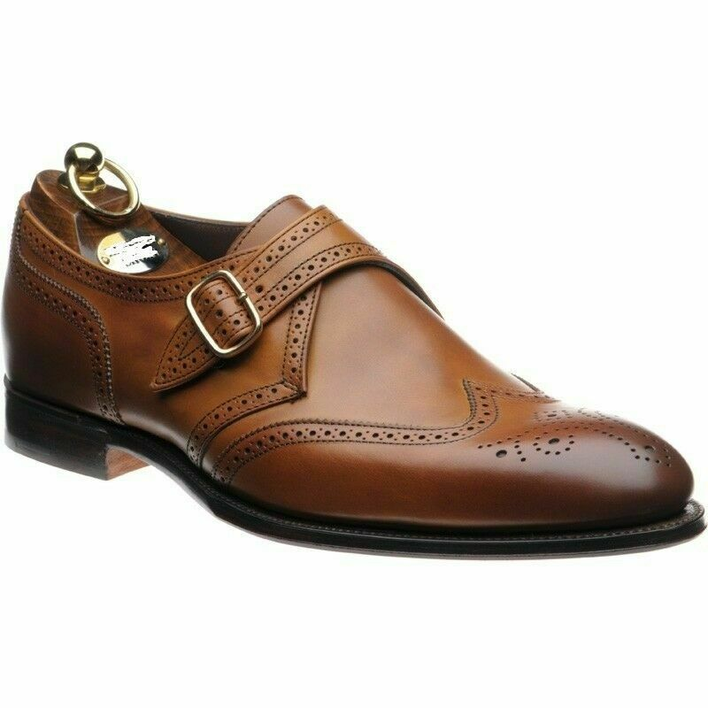 Hecho a mano para hombres Cuero Marrón Genuino Oxford Brogue Zapatos Hebilla de una sola Monje
