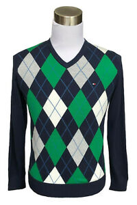 Tommy-Hilfiger-Men-Classic-Fit-V-Neck-Argyle-Long-Sleeve-Sweater-0-Free-Ship